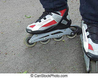 roller blades - close up  of a pair of roller blades
