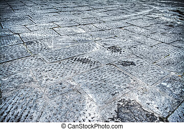 close up of a paved floor in Florence