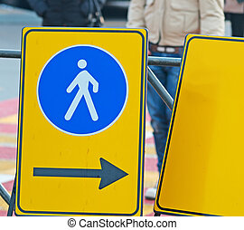pedestrian sign - close up of a pedestrian sign in the ...