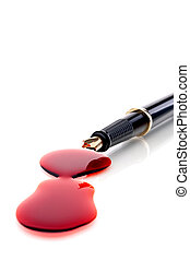 """Close up of a pen and blood \""""sign your name in blood\"""""""