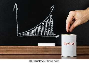 Close-up Of A Person Inserting Coin In Saving Can In Front Of Blackboard Showing Graph
