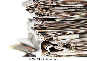 close up of a pile of old newspaper