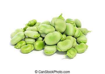 raw broad beans - close up of a pile of raw broad beans on a...