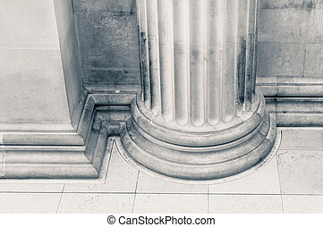 Close up of a Pillar in black and white