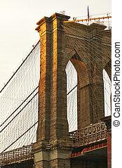Close up of a pillar of the Brooklyn bridge at sunset