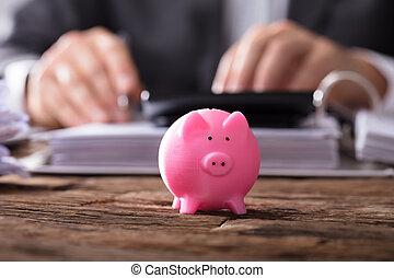 Close-up Of A Pink Piggybank