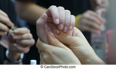 Close up of a point massage of the woman hands