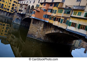 Close-up of a Ponte Vecchio bridge in Florence, Italy.