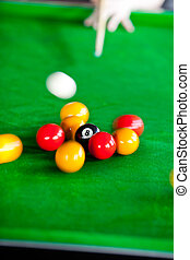Close-up of a pool player