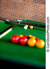 Close up of a pool table