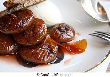 Close-up of a preserved fig dessser - Delicious figs in...