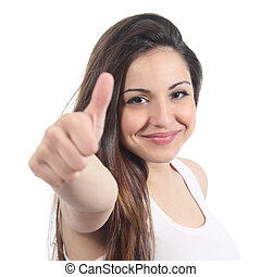 Close up of a pretty teenager with thumb up - Close up of a ...