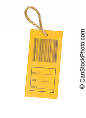 close-up of a price tag with bar code isolated on white background