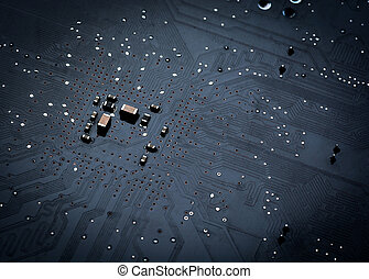 Close up of a printed black computer circuit board top view