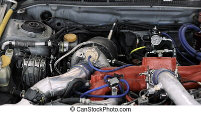 Close up of a race car engine - muscle car under the hood