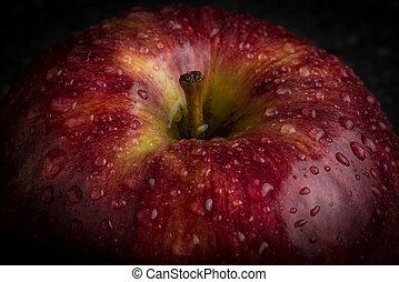 Close up of a red apple with water drops