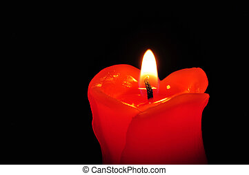 Close up of a Red candle light