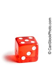 close up of a red dice on white background