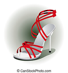 red high heels  - close up of a red high heels vector