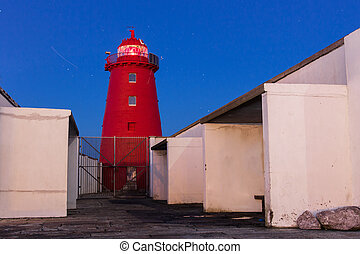 Close up of a red lighthouse