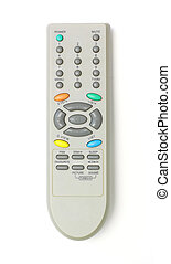 close up of a remote control on white background
