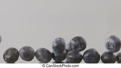 Close-up of a ripe large blueberry slowly falls and fills the screen. Slow motion. Berries background. Full HD video, 240fps,1080p