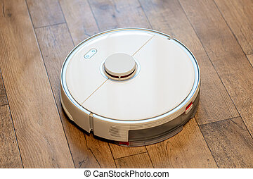 Close-up of a robot vacuum cleaner