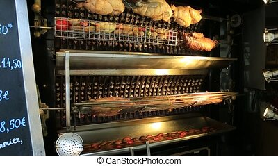 roasted chicken and skewer - Close Up of a rotisserie...