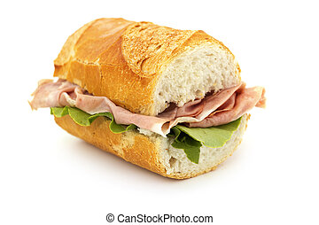 close up of a sandwich on white background