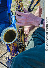 Close-Up of a saxophonist