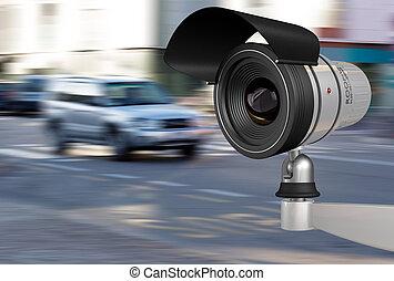 security camera in city traffic
