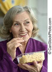 Close up of a senior woman