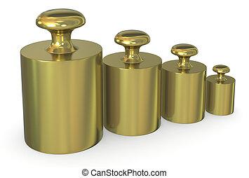 calibration weights - close up of a set of calibration ...