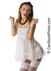 white babydoll - close up of a sexy red haired girl with ...