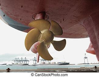 Close up of a ship propeller