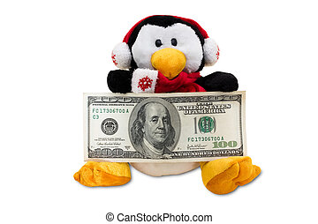 Close up of a sitting penguin holding one hundred dollar bills isolated on a white background with clipping path, Christmas Cash