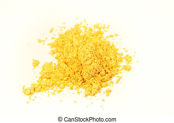 close up of a small portion of mineral gold pigment isolated over white