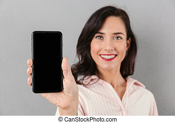 Close up of a smiling businesswoman
