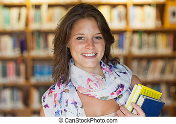 Close up of a smiling female student