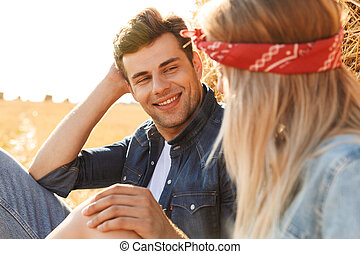 Close up of a smiling young couple