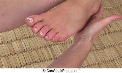 Close-up of a special foot massage