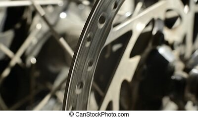 Close-up of a spoke wheel. Macro photo. Part of the bike