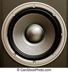 Close up of a stereo audio loudspeaker with a nice finish. ...
