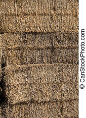 Close up of a straw bale