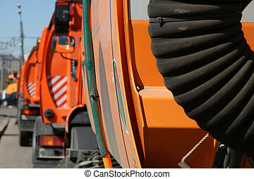 Close-up of a street cleaning truck