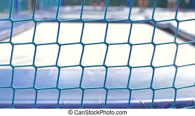 close-up of a stretched sports net