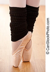 Close-up of a talented ballerina on tiptoe