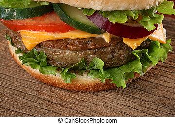 Close up of a tasty hamburger