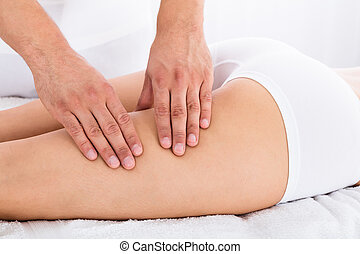 Therapist Giving Led Massage To Woman