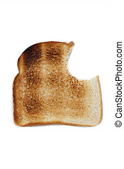 close up of a toast with missing bite
